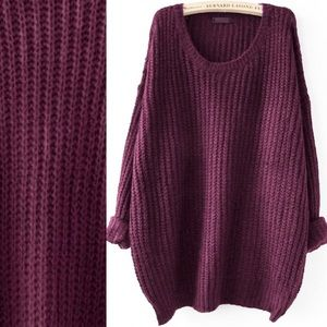 Sweaters - 🆕berry Purple drop shoulder solid knit sweater
